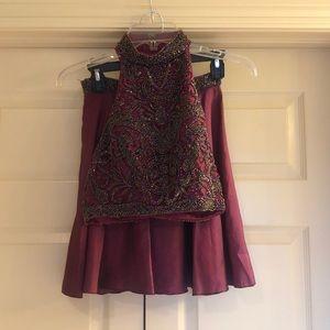 Sheri Hill. 2 piece burgundy top and skirt